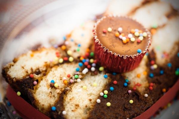 Photographie culinaire gâteau au chocolat damier aux Brossard