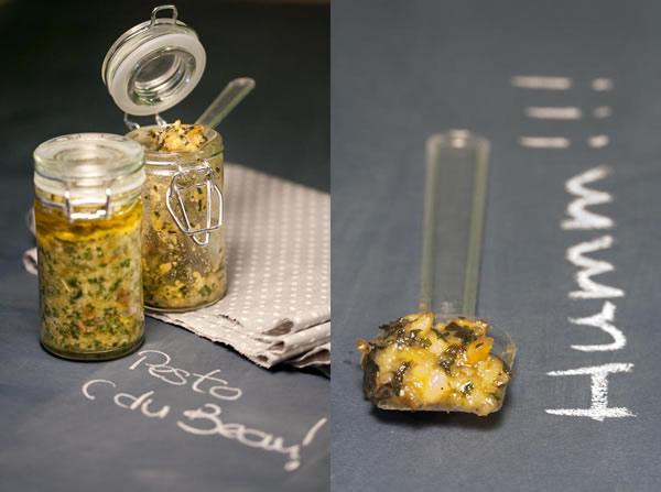 Photographie culinaire pesto au basilic