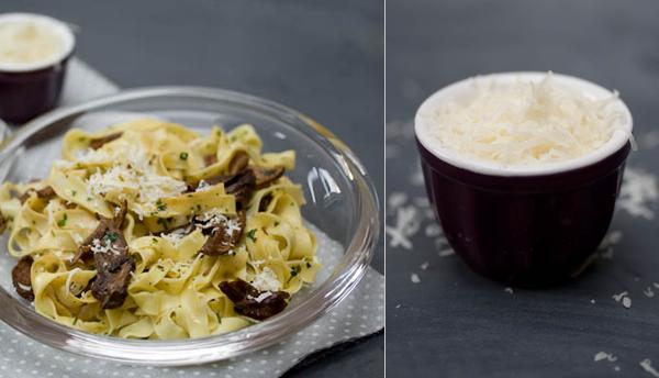 Photographie culinaire tagliatelles aux champignons