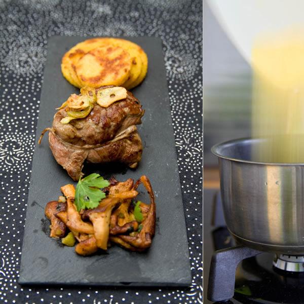 Photographie culinaire pavé d'agneau grillé, ail, girolles et polenta