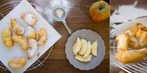 Photographie culinaire petits beignets de carnaval aux pommes