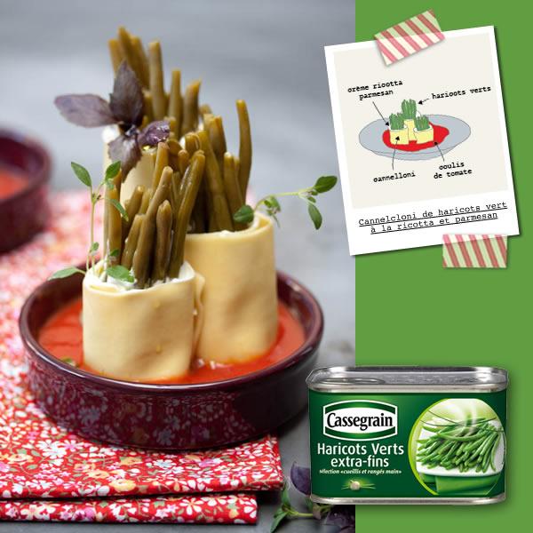 Photographie culinaire cannelloni de haricots verts à la ricotta et parmesan