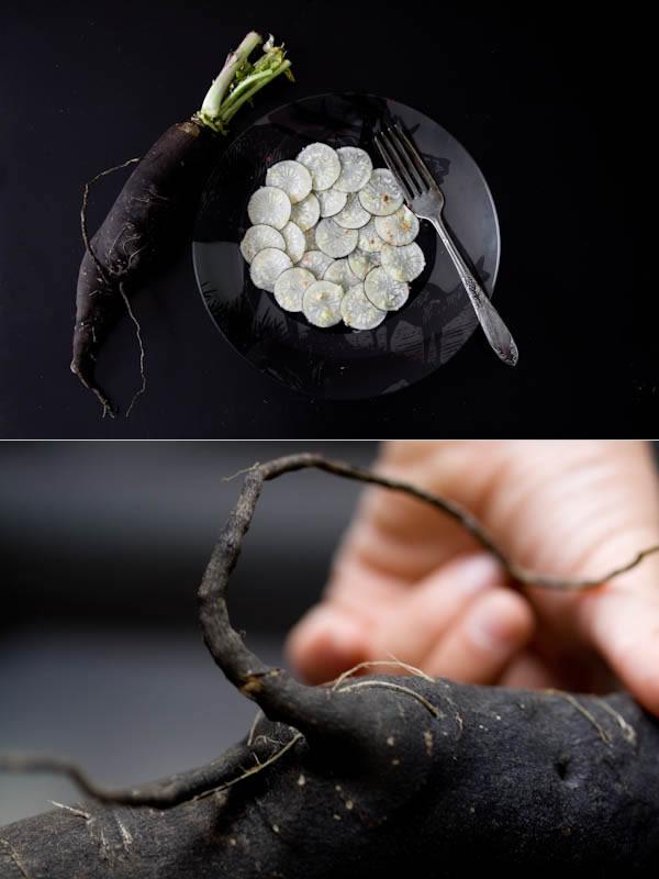 Photographie culinaire carpaccio-radis-noir