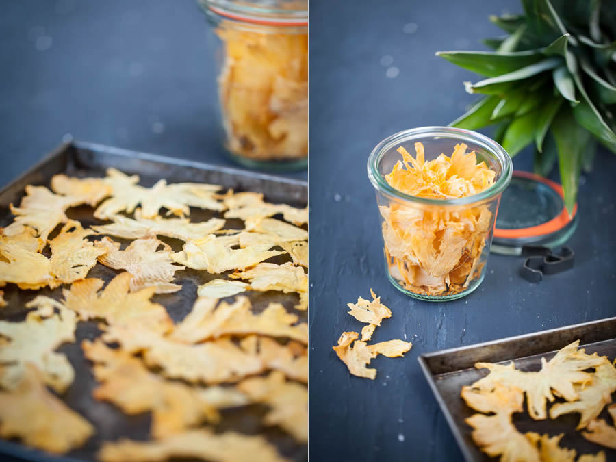 photographie culinaire chips d'ananas