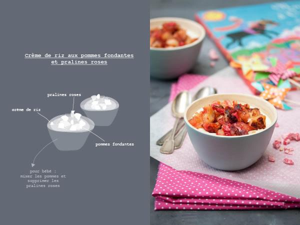 Photographie culinaire crèmes de riz aux pommes fondantes et pralines roses