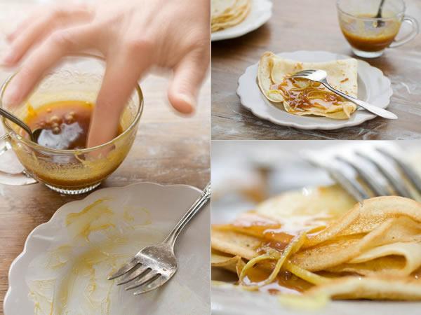 Photographie culinaire crêpes et caramel au citron