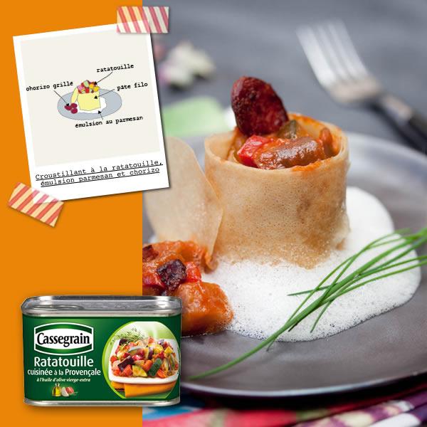 Photographie culinaire écrins croustillants à la ratatouille, chorizoet émulsion au parmesan