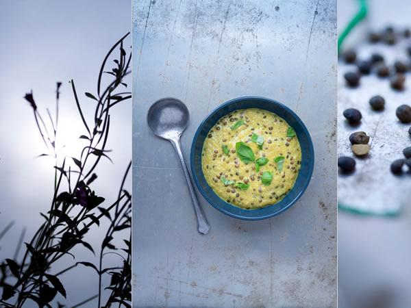 photographie culinaire curry de lentilles vertes