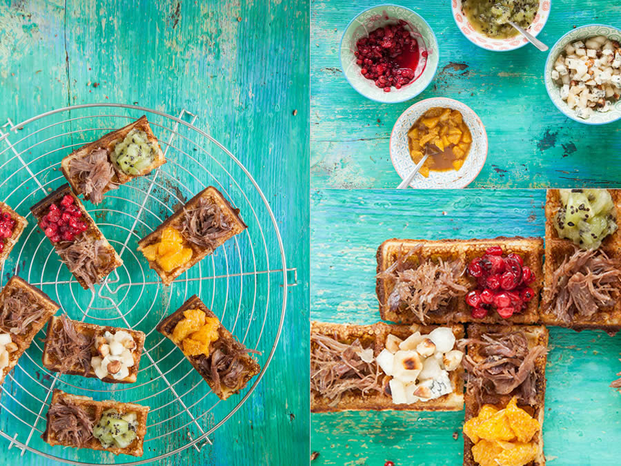 photographie culinaire dominos de gaufres aux fruits et confit de canard