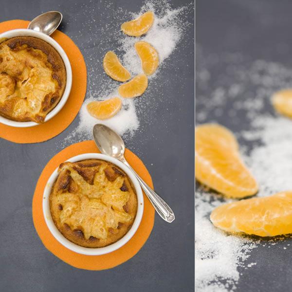 Photographie culinaire gratin de clémentines à la poudre d'amandes