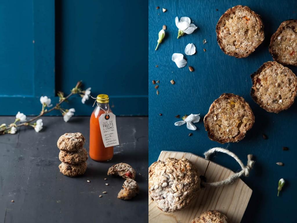 Jus poivron carotte céleri… et petits pains à la pulpe (sans gluten)