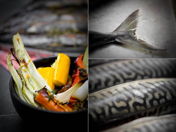 Photographie culinaire maquereaux et légumes grillés