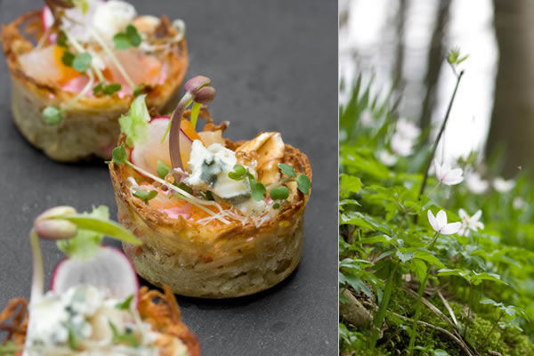 Photographie culinaire petits nids terre-mer au Roquefort
