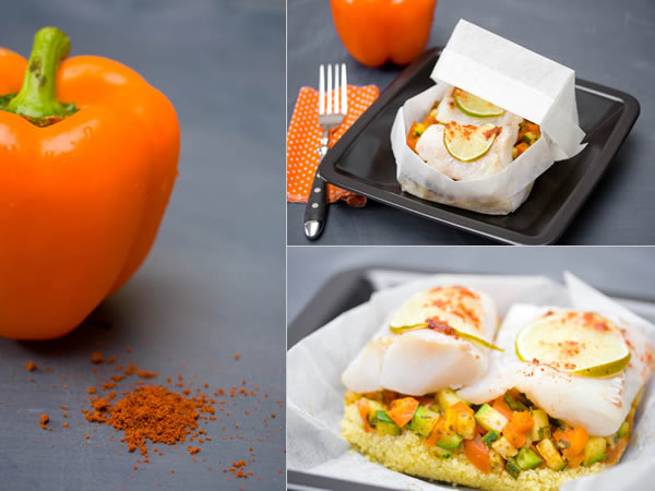 Photographie culinaire papillote de cabillaud