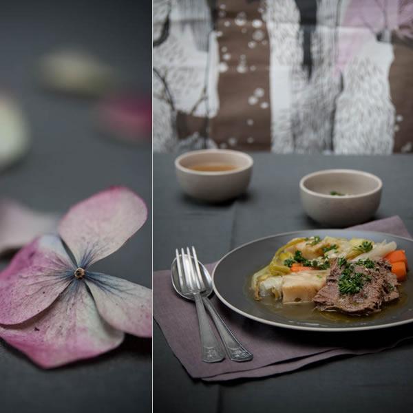 Photographie culinaire pot au feu de langue de boeuf