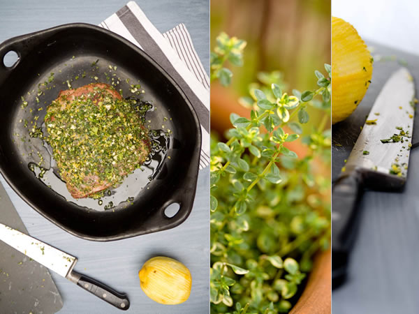 Photographie culinaire rôti de porc aux herbes