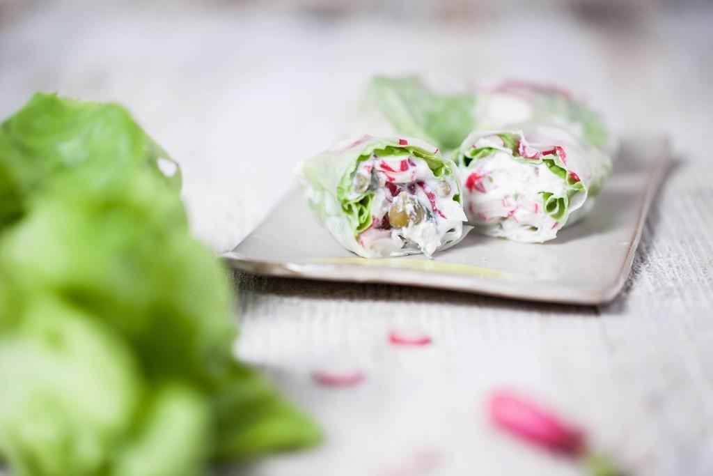 Rouleaux de printemps ricotta radis (sans gluten)