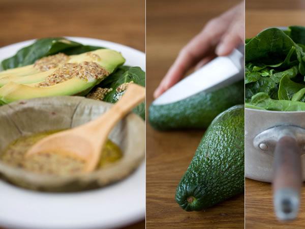 Photographie culinaire salade avocat épinards à la vinaigrette tiède