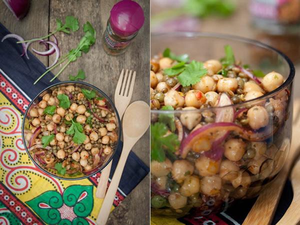 Photographie culinaire salade de lentilles et pois chiches