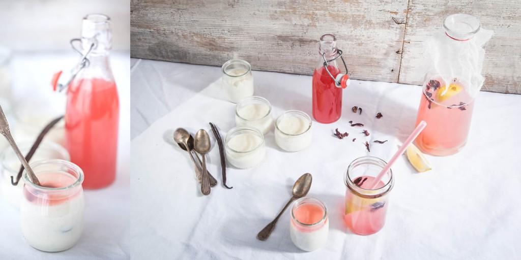 photographie culinaire : sirop de rhubarbe aux fleurs d'hibiscus