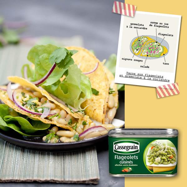 Photographie culinaire tacos aux flageoletset gremolata à la coriandre