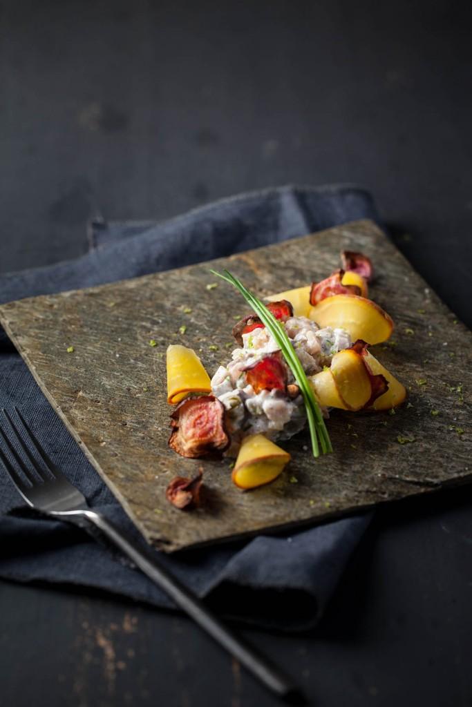 photographie culinaire tartare de hareng et duo de betterave