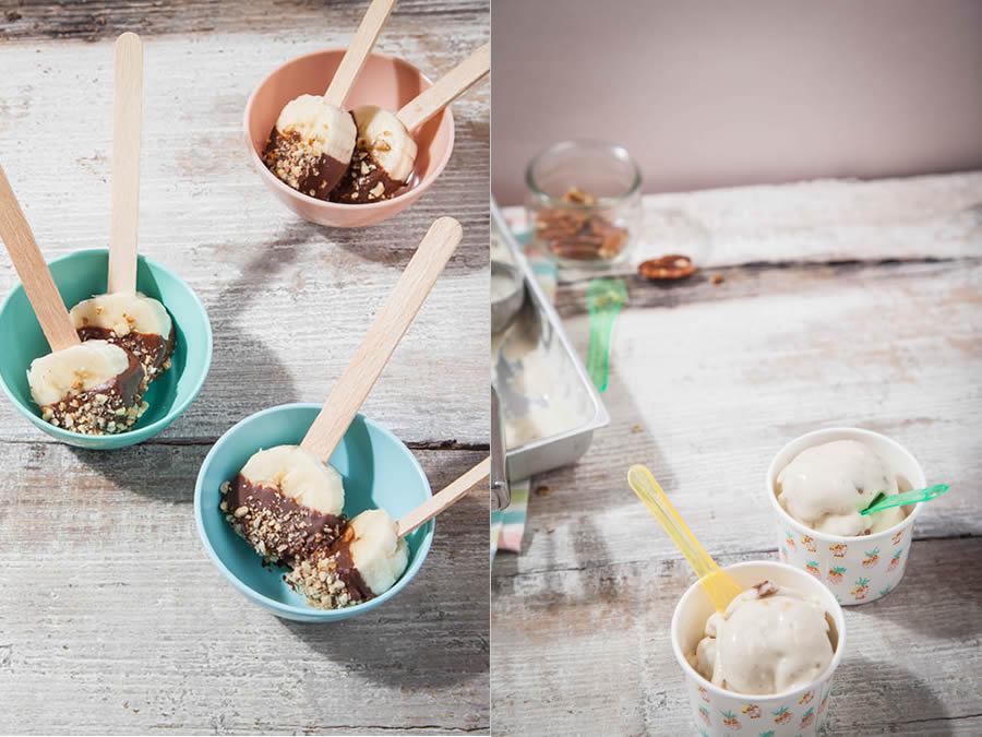 photographie culinaire recette smoothie banane thé vert et glace banane noix de pécan